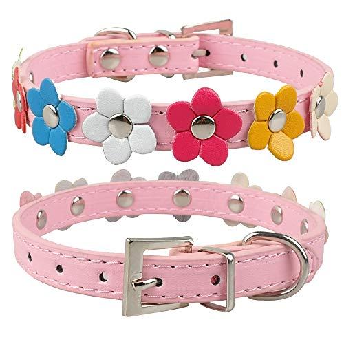 Hondenhalsband, roze bloemen katten halsband met studs leer Puppy Dog Collars Pink Pet halsbanden voor alle seizoenen ademende gewatteerde comfortabele lichte outdoor training halsbanden, Small