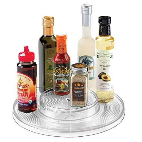 mDesign Plato giratorio – Práctico organizador de cocina para frigorífico o armario – También apto como especiero con 2 niveles – transparente