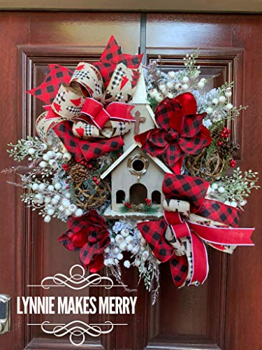 Lynnie Makes Merrychristmas Wreath Rustic Birdhouse Church Buffalo Plaid Farmhouse Front Door Winter Wreath Dailymail