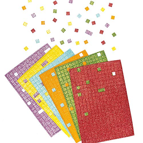 Baker Ross Glitzernde Mosaik-Quadrate aus Schaumstoff zum Basteln und Aufkleben für Kinder (1980 Stück)