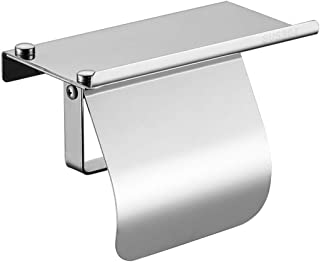 AQJD Black Toilet Roll Paper Holder Wall Mount with Phone Shelf and Cover Bathroom Accessories SUS 304 Stainless Steel (Polish)