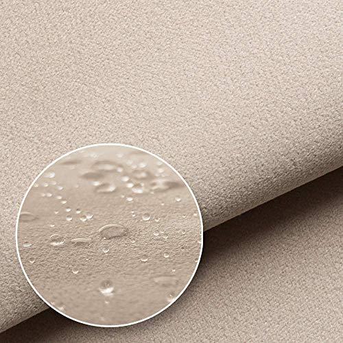 NOVELY® Triton Microfaser Velours Wildleder-Optik 22 Farben Möbelstoff Polsterstoff (02 Beige)