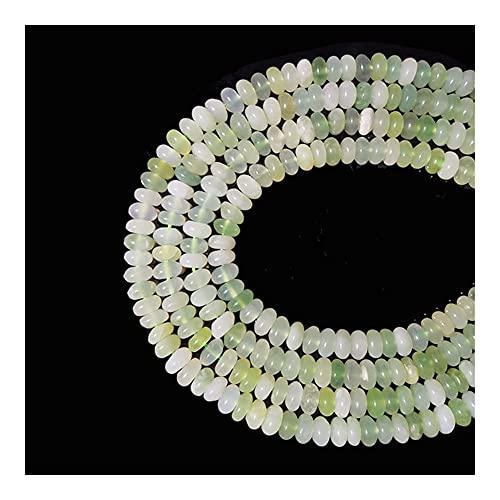 Hermoso Regalo 5x8 mm Joyas Naturales Jade Verde Chino Roundel Cuentas de Piedra Hacer Bricolaje Joyería Pulsera CollarYoga (Diámetro del artículo: 5x8 mm)
