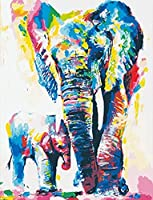 大人のためのDIY5Dダイヤモンドペインティングフルキット、カラフルな象、家の壁の装飾ギフトのためのラウンドドリルフルダイヤモンドナンバークリスタル刺繡アート16x20インチ