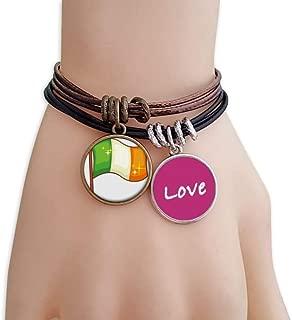 Shine Ireland National Flag St.Patrick's Day Love Bracelet Leather Rope Wristband Couple Set