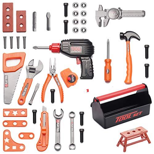 GODNECE Spielwerkzeug Koffer, 42-teiliges Werkzeugkasten Spielzeug Werkzeugset Kinder ab 3 Jahre