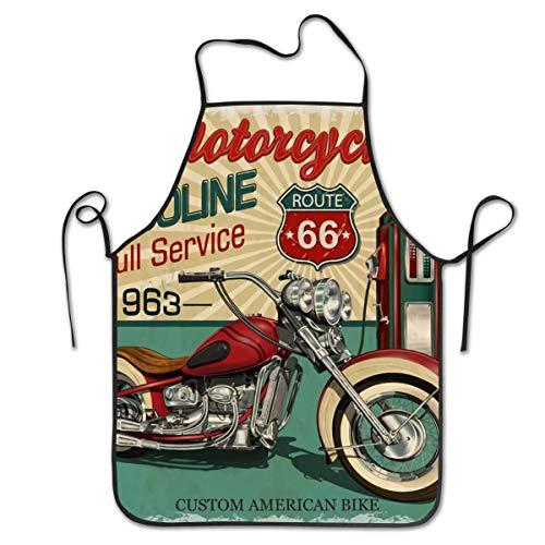 AOOEDM Vintage Essence Route Motocicletas clásicas Delantal de Motorista Cocina Chef Cocina Creativa Divertida Parrilla para Hornear 28,3 x 20,5 Pulgadas