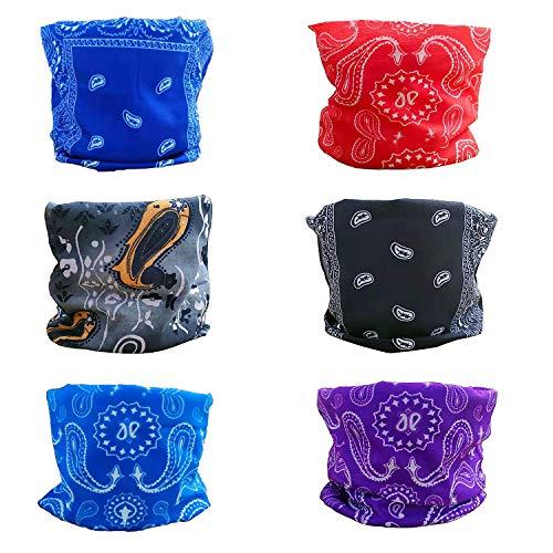 Sumwiner 6 PCS Pañuelos Cabeza Elástica Multifunción Bandana Protección Ultravioleta Sport Diadema para la mayoría de los Hombres y Mujeres para Yoga Senderismo Equitación Motociclismo