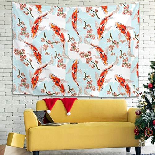 Elucassi Japón Koi Fish colgante de pared para colgar en la pared para el hogar, sala de estar, dormitorio, habitación de niños, color blanco 40 x 59 pulgadas