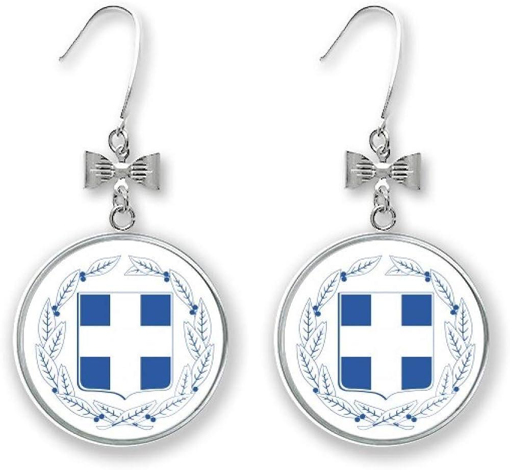Greece Europe National Emblem Bow Pierced Drop Charlotte Mall Stud Earrings Long Beach Mall Hoo