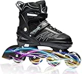 ITurnGlow Adjustable Inline Skates for Kids and Adults, Roller Skates with Featuring All Illuminating Wheels, for Girls and Boys, Men and Ladies (Gray, Large - Youth (5-8US))