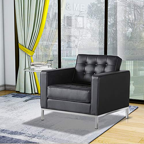 WGYDREAM Black Leather Sofa Single Seat Chair Modern Recliner Armchair Couch With Armrest And Stainless Steel Legs For Living Room Home Office