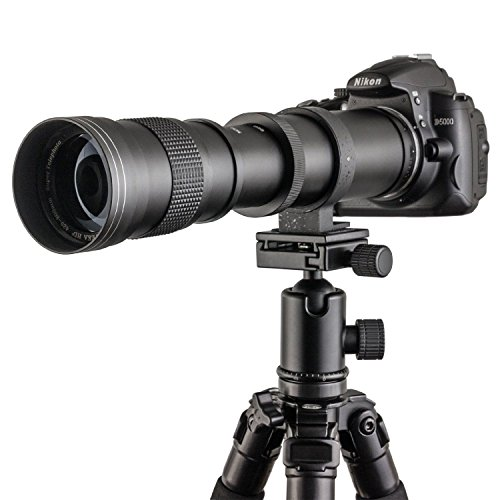 Fotga - Objetivo telescópico vario con zoom Super Tele Zoom, 420-800 mm f/8,3-16 para Canon EOS 1D, 5D, 6D, 7D, 10D, 20D, 30D, 40D, 50D, 60D, 100D, 300D, 350D, 400D, 450D, 500D, 550D, 600D, 700D, 1000D, 1100D, 1200D y más cámaras réflex DSLR/SLR