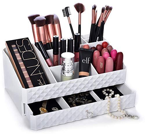 Dawoo Boîte de rangement multifonctionnelle pour boîte à cosmétiques blanche Boîte de rangement pour cosmétiques et bijoux Boîte de rangement pour maquillage