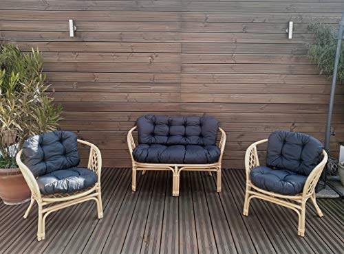 Mayaadi-Home Gartenbankauflagen 6 teiliges Sitzkissen-Set Sitzpolster für Gartengarnitur Set Steve Dunkelgrau JCG1
