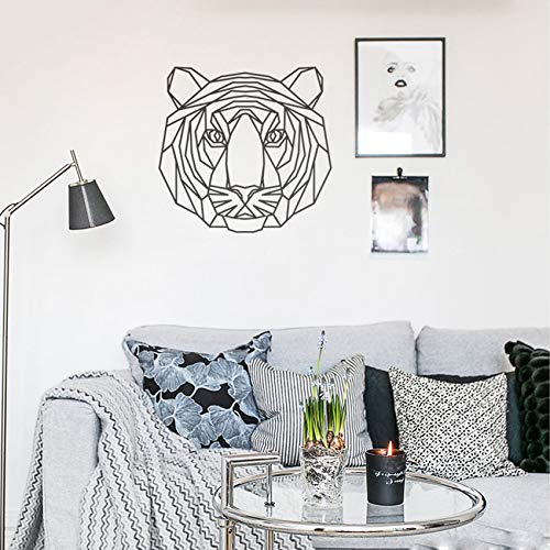guijiumai Geometrische Tiger Kopf Wandaufkleber Wohnkultur Wohnzimmer Tier Abziehbilder Jungen Kinderzimmer Vinyl Aufkleber Kinder Geschenk schwarz 59X57 cm
