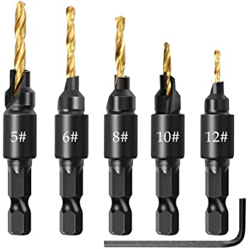 5Pcs,#5#6#8#10#12 Woodworking Tool by Power Drill Countersink Drill Bit Set Power Tools Accessories with Hex Key for Plastic