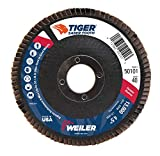 Weiler 50101 Saber Tooth 7/8' Arbor, 4-1/2' Diameter, 40 Grit, Ceramic, Phenolic Backing, Angled Abrasive Flap Disc, Made in the USA