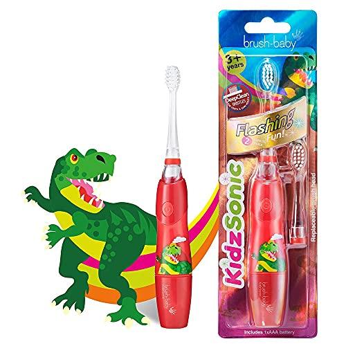 Brush Baby KidzSonic Cepillo de dientes eléctrico para niños y niños mayores de 3 años - Dinosaurio
