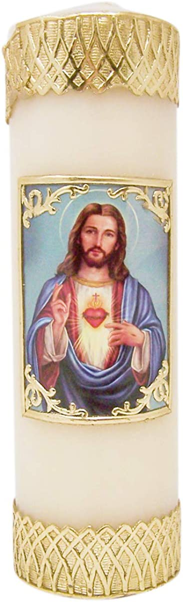 Sacred Heart Our shop OFFers the Gorgeous best service of Jesus Christ Devotional 4 Pillar 7 3 Candle Wax