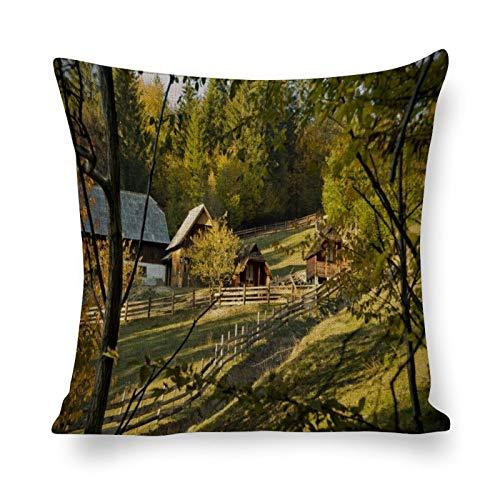 Tiukiu 18 X 18 Inch Cotton Linen Square Throw Pillow Case Cushion Covers, Bed Sofa Couch Car Home Decor, Farm Life