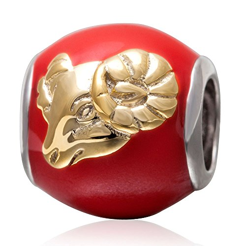 Zodiac Sign Charm Authentic 925 Sterling Silver Crystal Bead Charm for Ladys Bracelet Necklace (Aries)