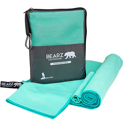 BEARZ Outdoor Quick Dry Towel Travel Towel - Ultra Compact Camping Towel - Gym Towel - Microfiber Towel. Camp Towel - Microfiber Travel Towel. Towels for Beach Workout Hiking Yoga (Mint Green)