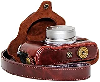 First2savvv XJPT-X30-A10 café cuerpo completo ajuste preciso de cuero de la PU cámara digital bolsa caso cubierta con correa para Fujifilm X30 con mini trípode