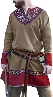 Mens Medieval Tunic Vintage Floral V Neck Renaissance Viking Pirate LARP Cosplay Costume Shirt