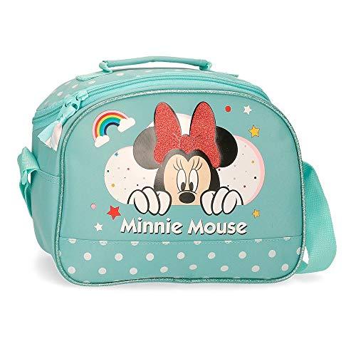 Disney Minnie Rainbow Neceser Adaptable con Bandolera Verde 25x19x10 cms Poliéster