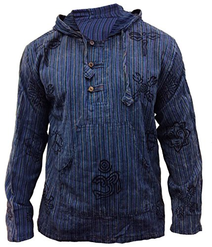 SHOPOHOLIC FASHION Herren Stonewashed gestreift mit Kapuze Hippy Großvater Shirt - Blau, XXX-Large