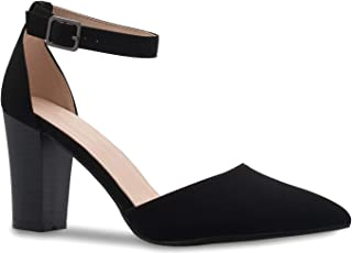 Women's Sexy D'Orsay Ankle Strap Pointed Toe Block Heel Pump - Classic, Comfortable