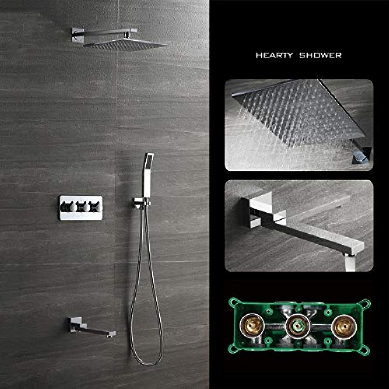 XSGDMN Duschsystem, Badezimmer-Duschhahn-Set mit 12 quadratischem Regenduschkopf, einfache InsGrößetion und umweltfreundliche, Grünckte Regendusche, Messing,B