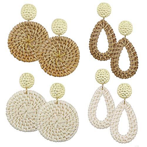 AIDSOTOU Rattan Earrings for Women Lightweight Geometric Statement Earrings Handmade Straw Wicker Braid Teardrop Hoop Drop Dangle Earrings 4 Pairs (Style-1)