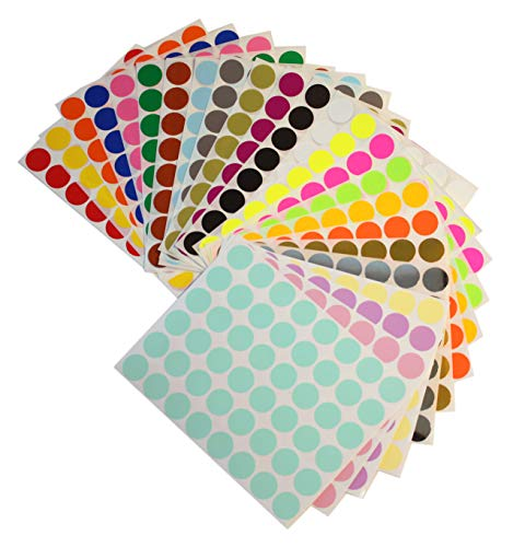 Royal Green Color Coding Labels 5/8 Diameter (11/16) Round Label Stickers in 24 Colors - Size 0.69-17mm DOTS 1152 Pack