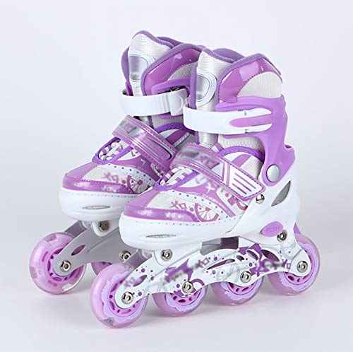 XYZCUP Inline Skates for Kids Girls Boys Adjustable Roller Skates Breathable Comfortable Single Flash Inline Skates for Women/Men/Beginners Contains 7 Pieces of Protective Gear,Purple,S:31_34