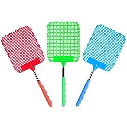 KBNIAN 3 Stück Teleskop Fliegenklatsche Einziehbare Fliegenklatsche Ausziehbare Mückenschutz Fliegenschutz für Fliegen, Mücken und Insekten - 25-59 cm (Rot/Blau/Grün)