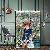 Dos hermanas Impresionismo Impreso en lienzo Arte Giclee Cuadro de arte de pared Arte de la sala de estar en la terraza sin marco de 40x60cm en estilo nórdico