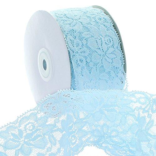 Ribbon Traditions 2.25' Stretch Elastic Lace Trim Light Blue 25 Yards
