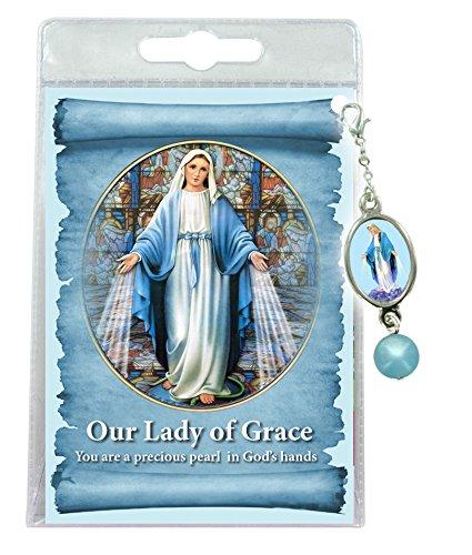 Ferrari & Arrighetti Medalla con Perla de la Virgen Milagrosa en inglés (Paquete de 3 Piezas)