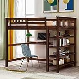 Loft Bed, Wooden Loft Bed Frame with Storage Shelves and Under-Bed Desk, Full-Length guardrail, Built-in Ladder, for Kids Teens Adult, Espresso (Full)