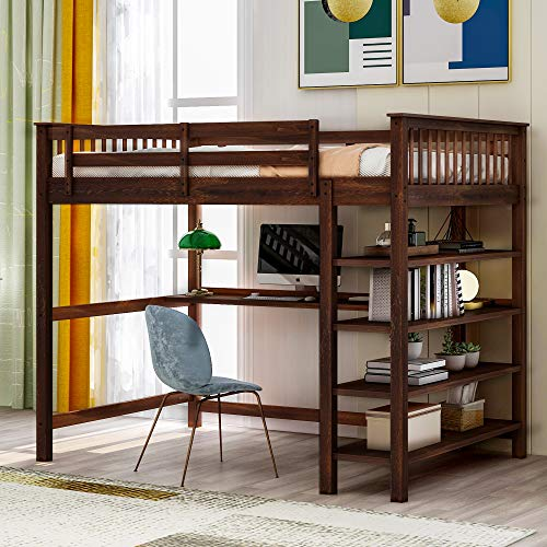 Polibi Full Size Solid Wood Loft Bed with Storage Shelves and Under-Bed Desk for Teens Adult, Espresso