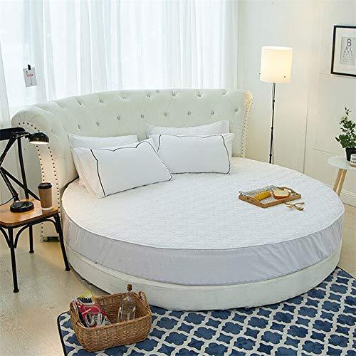 Heguowei Sábana Ajustable de algodón con Protector de colchón de lted Redondo con Banda elástica Sábana de Cama de Hotel con Tema romántico Ropa de Cama de Boda