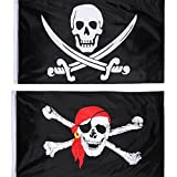 Hestya 2 Stück Jolly Roger Piraten Flagge Schädel Flagge für Piraten Party, Geburtstagsgeschenk, Piraten Tag, Halloween Dekoration,, 3 x 5 Fuß