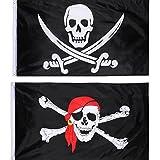 Hestya 2 Stück Jolly Roger Piraten Flagge Schädel Flagge für Piraten Party, Geburtstagsgeschenk,...