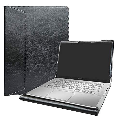 """Alapmk Diseñado Especialmente La Funda Protectora de Cuero de PU para 14"""" ASUS VivoBook X420UA /ZenBook 14 UX431FA Ordenador portátil(Not fit ASUS ZenBook UX430UA UX410UA /VivoBook 14 X411UF),Negro"""