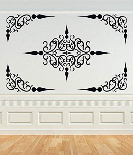 Decorative croll Panel, Ceiling Medallion, wirl Decal, Corner Decal, Wrought Iron, Vinyl sticker, Wall Art, Home, Office, Bedroom Decor Easy to Apply and Removable Easy to Apply and Removable