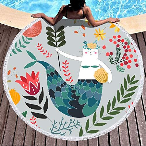 Dofeely Dames Cartoon Onderwaterwereld print zacht Beach Towel Bommeln Tapestry Zomer Beach mat tapijt handgemaakt kwast sprei onderwaterplanten polyester 150x150cm