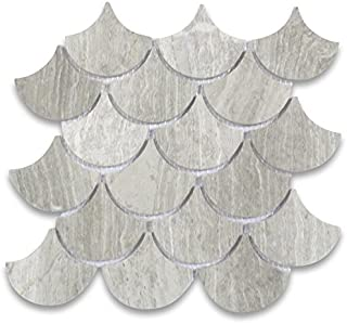 Athens Silver Cream Haisa Light Marble Fish Scale Grand Fan Shape Mosaic Tile Polished