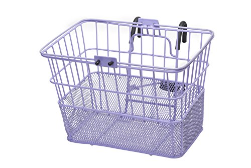 Retrospec Detachable Steel Half-Mesh Apollo Lift-Off Bike Basket with Handles, Lavender